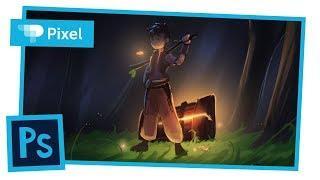 Рисуем парня в лесу в Adobe Photoshop | уроки для новичков