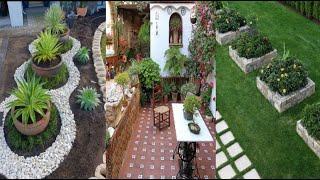 Красивый дизайн участка в загородных домах