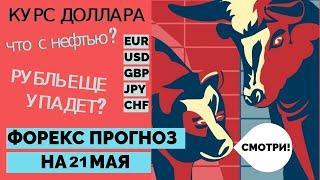 ПРОГНОЗ ФОРЕКС на 21 мая  Курс доллара + нефть + 6 валютных пар
