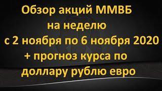 Обзор акций ММВБ на неделю с 2 ноября по 6 ноября 2020 года + прогноз курса по доллару рублю евро