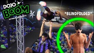 I DID THE NINJA WARRIOR COURSE BLINDFOLDED *TRAMPOLINE CHALLENGES*