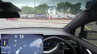 Autopilot Software CRASHES & It Navigates A Roundabout - Tesla Autopilot in a UK City #7 Worcester