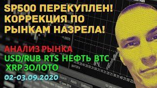 Анализ рынка 02-03/09/2020: доллар, рубль, нефть, ртс, золото, биткоин, рипл, сбербанк, акции